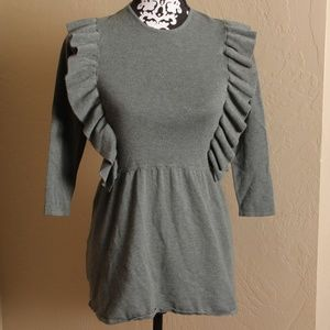 ZARA FANCY COLLECTION RUFFLE FRONT SWEATER